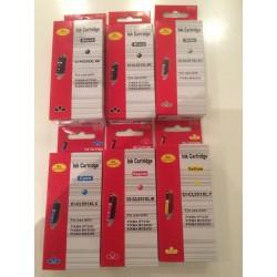 1 sæt (6 stk.) PGI 550XL BK, CLI 551XL BK,C,M,Y & GY,  kompatible patroner m/chip