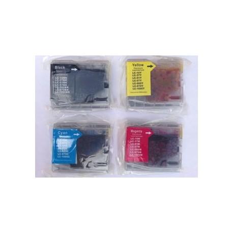 Sæt (4 stk.) LC 1000 BK,C,M,Y, kompatible blækpatroner