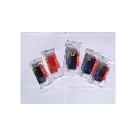 Sæt (5 stk.) PGI 525 BK & CLI 526 BK,C,M,Y, kompatible patroner m/chip
